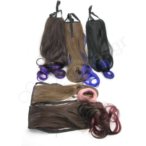 HAIRPIECES IN FOUR COLORS AND THREE SHADES (BLACK, HONEY, CHESTNUT BROWN)