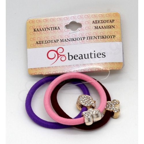 3PCS COLORED ELASTIC BANDS WITH JEWΕLRY