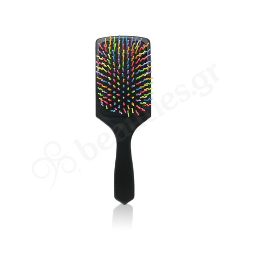 STRAIGHT HAIR BRUSH WITH MULTICOLORED TEETH
