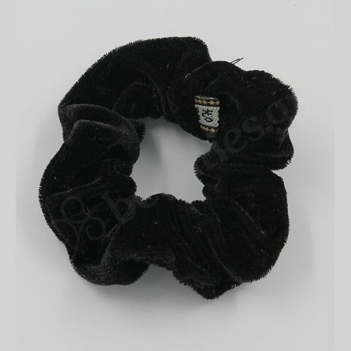 SMALL VELVETEEN BLACK SCRUNCHIE