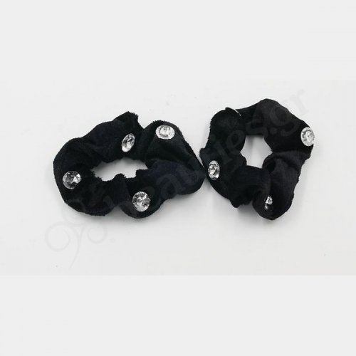 BLACK VELVETEEN SCRUNCHIE WITH DIAMOND