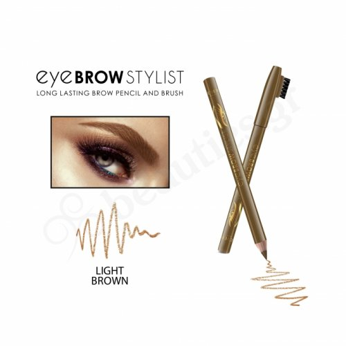 EYE BROW STYLIST WOODEN PENCIL WITH EYEBROW BRUSH 1,2gr LIGHT BROWN