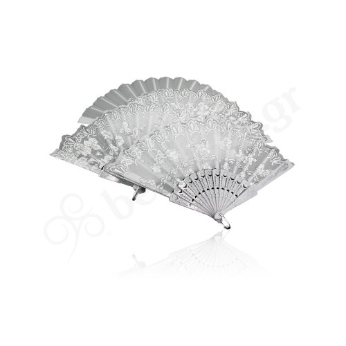 WHITE HAND FAN WITH STRASS DESIGNS