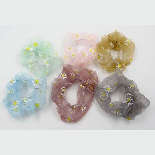 ORGANZA DAIZY SUNFLOWER SCRUNCHIE