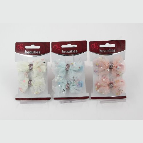 TULLE DOUBLE BOW BOBBY PINS