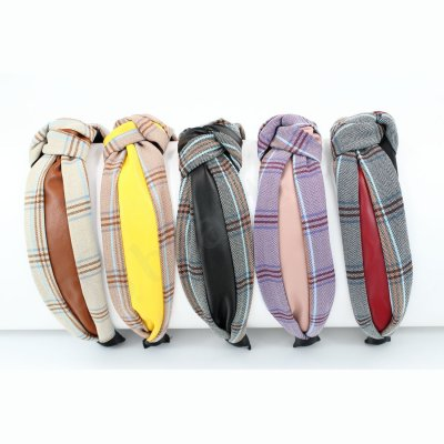 PLAID HAIR ALICEBAND WITH FAUX LEATHER